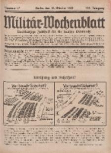 Militär-Wochenblatt : unabhängige Zeitschrift für die deutsche Wehrmacht, 113. Jahrgang, 18. Oktober 1928, Nr 15.