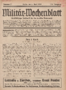 Militär-Wochenblatt : unabhängige Zeitschrift für die deutsche Wehrmacht, 113. Jahrgang, 4. April 1929, Nr 37.