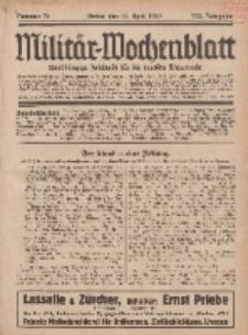 Militär-Wochenblatt : unabhängige Zeitschrift für die deutsche Wehrmacht, 113. Jahrgang, 18. April 1929, Nr 39.