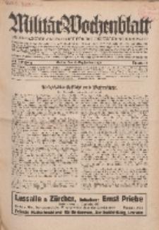 Militär-Wochenblatt : unabhängige Zeitschrift für die deutsche Wehrmacht, 114. Jahrgang, 4. September 1929, Nr 9.
