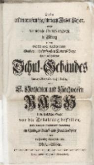 Bey der erfreuten funfzigjährigen Jubel-Feyer, welche des löbliche Gymnasium in Elbing […] Schul-Gebäudes […] Rath dieser königlichen Stadt vor die Erhaltung […]