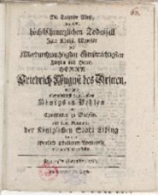 Die klagende Muse bei dem [...] Todesfall ... des Friedrich August des Dritten […] Königs in Polen […] Trauerrede […]