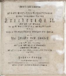Zum frohen Andenken des glücklich erlebten Geburtstages [...] Friederichs II […] wurde die Freude des Landes […] vorgestellet von Johann Lange des Gymnasiums Rectors