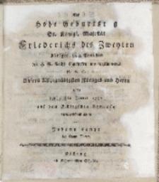 Der hohe Geburtstag [...] Friderichs des Zweyten [...] auf dem Elbingschen Gymnasio allerunterhänigst gefeiret von Johann Lange des Gymn. Rector