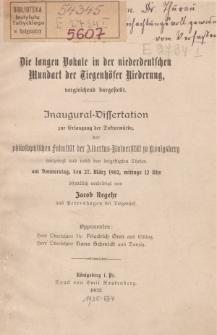 Die langen Vokale in der niederdeutschen Mundart der Tiegenhöfer Niederung, vergleichend dargestellt