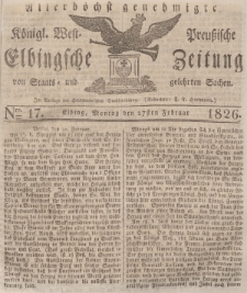 Elbingsche Zeitung, No. 17 Montag, 27 Februar 1826