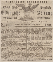 Elbingsche Zeitung, No. 33 Montag, 24 April 1826