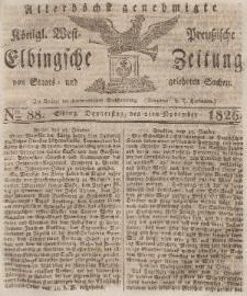 Elbingsche Zeitung, No. 88 Donnerstag, 2 November 1826
