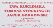 Ewa Kuklińska, Tomasz Stockinger i Jacek Borkowski w programie estradowo-kabaretowym