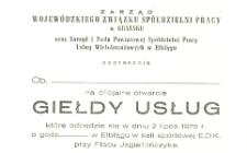 Pierwsza Giełda Usług Spółdzielczości Pracy w Elblągu - zaproszenie
