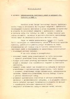 Wytyczne w sprawie zabezpieczenia realizacji zadań w usługach dla ludności w 1980 roku - nadbitka