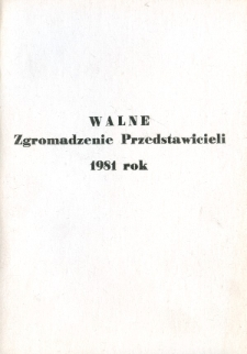 Walne Zgromadzenie Przedstawicieli 1981 rok - broszura