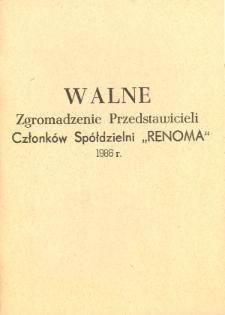 """Walne Zgromadzenie Przedstawicieli Członków Spółdzielni """"Renoma"""" 1986 - broszura"""