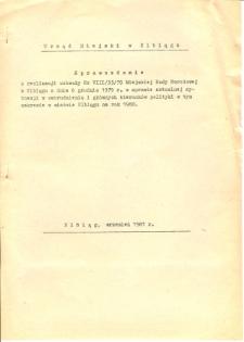 Sprawozdanie z realizacji uchwały nr VIII/33/79 MRN w Elblągu z dnia 6 grudnia 1979 r. w sprawie aktualnej sytuacji w zatrudnieniu i głównych kierunków polityki w tym zakresie w mieście Elblągu na rok 1980 - druk