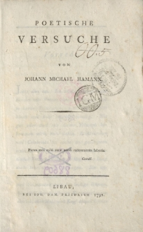 Poetische Versuche von Johann Michael Hamann […]