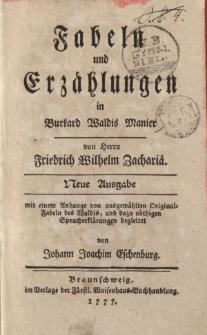 Fabeln und Erzählungen in Burkard Waldis Manier […]