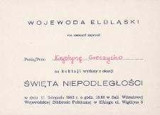 Święto Niepodległości Koktajl z 1992 - zaproszenie