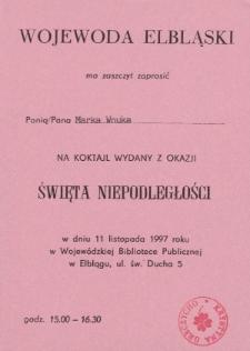 Święto Niepodległości Koktajl z 1997 - zaproszenie