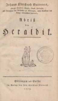 Johann Christoph Gatterers […] Abriss der Heraldik