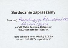 """VIII Walne Zebranie Delegatów NSZZ """"Solidarność"""" - zaproszenie"""