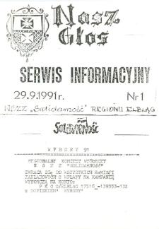 """Nasz Głos. Serwis Informacyjny Biuletynu Informacyjnego """"Nasz Głos"""", 1991 nr 1"""