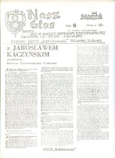 """Nasz Głos. Biuletyn Informacyjny NSZZ """"Solidarność"""" Regionu Elbląskiego, 1990, nr 8 [wydanie powielaczowe]"""