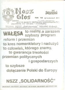"""1990, Nasz Głos. Biuletyn Informacyjny NSZZ """"Solidarność"""" Regionu Elbląskiego, 1990, nr 12 [wydanie powielaczowe]"""