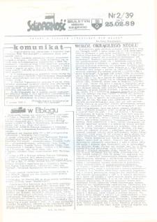 """Biuletyn Regionu Elbląskiego """"Solidarnosć"""", 1989, nr 2 (39) [wydanie powielaczowe]"""