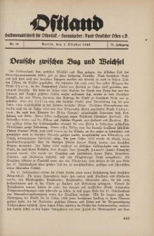Ostland : Halbmonatsschrift für Ostpolitik, Jg. 21, 1940, Nr 19.