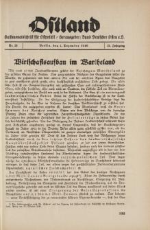 Ostland : Halbmonatsschrift für Ostpolitik, Jg. 21, 1940, Nr 23.