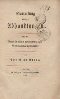 Sammlung einiger Abhandlungen […] von Christian Garve