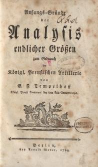 Anfangs-Gründe der Analysis endlicher Größen zum Gebrauch der Königl. Preußischen Artillerie