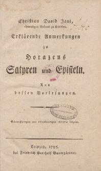 Christian David Jani […] Erklärende Anmerkungen zu Horazens Satyren und Episteln […]