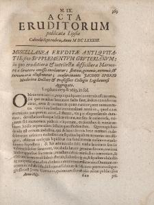 Acta Eruditorum […] Calendis Septembris, Anno M DC LXXXIII, N.IX