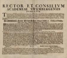 Rector et consilivm Academiae Vitembergensis pvblicvm