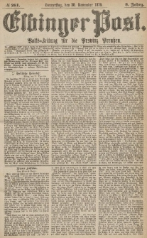 Elbinger Post, Nr.281 Donnerstag 30 November 1876, 3 Jh