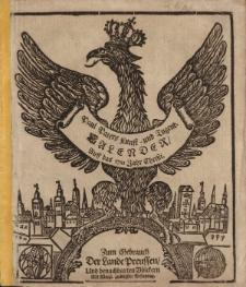 Neuer und Alter Kunst- und Tugend- Calender auff das 1721. Jahr Chirsti. Worinnen gantz gewisse Dinge, von dem Lauff der Sonnen, Monds, und dessen Vierteln vorher gesagt; auch ungewisse von der zukünfftigen Witter- und Veränderung der Lufft [...]