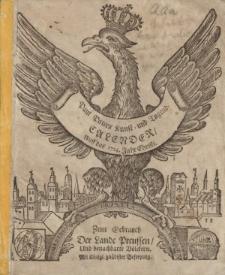 Neuer und Alter Kunst- und Tugend- Calender auff das 1724. Jahr Chirsti. Worinnen gantz gewisse Dinge, von dem Lauff der Sonnen, Monds, und dessen Vierteln vorher gesagt; auch ungewisse von der zukünfftigen Witter- und Veränderung der Lufft [...]