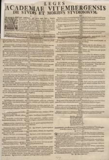 Leges Academiae Vitembergensis de studiis et moribus studiosorum