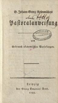 D. Johann Georg Rosenmüllers Pastoralanweisung […]