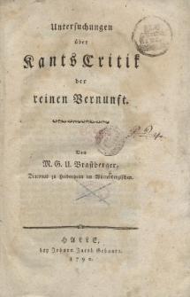 Untersuchungen über Kants Critic der reinen Vernunft