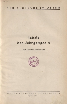 Der Deutsche im Osten. Monatschrift für Kultur, Politik und Unterhaltung, Jahrgang 2, Inhalt