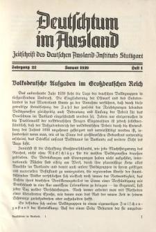 Deutschtum im Ausland, 22. Jahrgang, 1939, H. 1