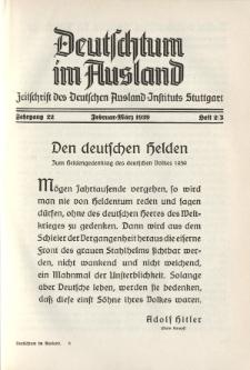 Deutschtum im Ausland, 22. Jahrgang, 1939, H. 2/3