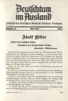 Deutschtum im Ausland, 22. Jahrgang, 1939, H. 4