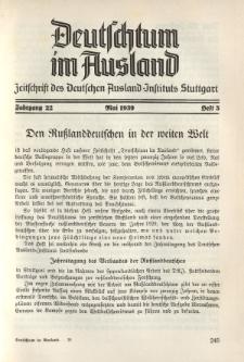 Deutschtum im Ausland, 22. Jahrgang, 1939, H. 5
