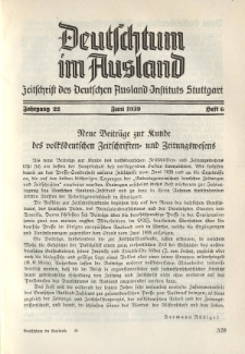 Deutschtum im Ausland, 22. Jahrgang, 1939, H. 6