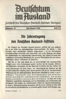 Deutschtum im Ausland, 22. Jahrgang, 1939, H. 7/8