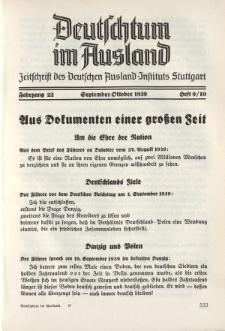 Deutschtum im Ausland, 22. Jahrgang, 1939, H. 9/10