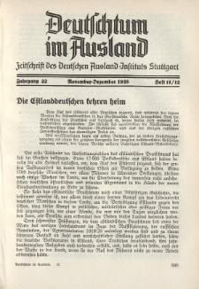 Deutschtum im Ausland, 22. Jahrgang, 1939, H. 11/12